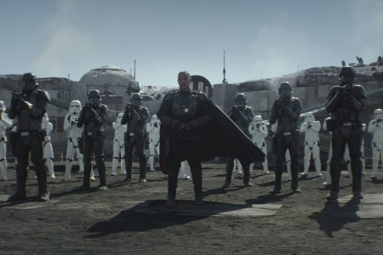 Moff Gideon standing in front of a stormtrooper army