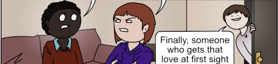 Susan and her friend speak, love interest in background