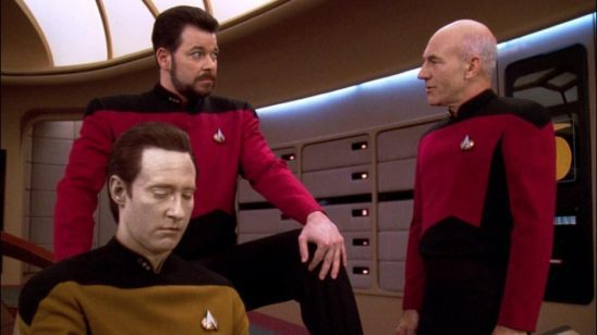 Data, Riker, and Picard from Star Trek.