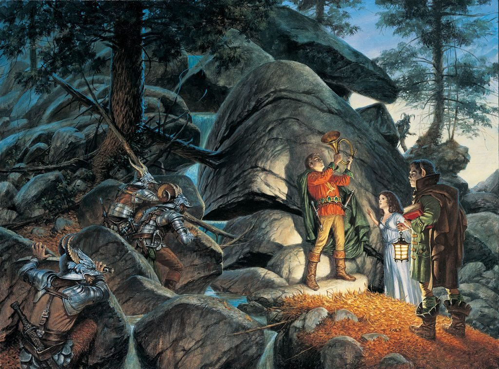 Rand lifting a magic horn from The Great Hunt's cover art.