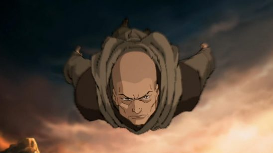 Zaheer in a dive from Korra.
