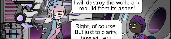 a villain speaks to a hero in a high tech lair