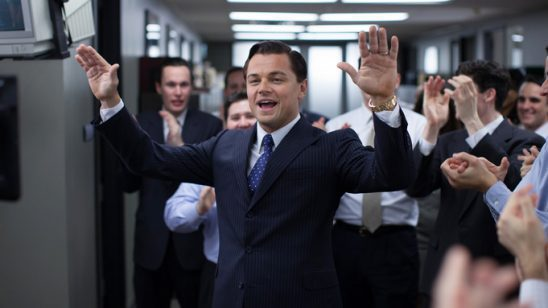 Leonardo DiCaprio addressing a crowd in The Wolf of Wallstreet