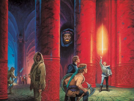 Cover art of Rand grabbing a magic sword from The Dragon Reborn.
