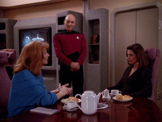Crusher, Picard, and Vaush from The Next Generation