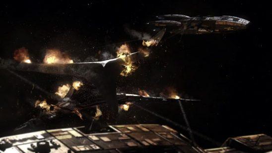Two Battlestars circling a damaged Base Star from Battlestar Galactica.