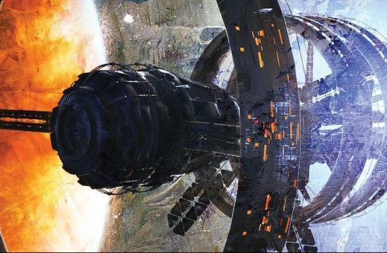 A ringed station from the cover of Ballistic
