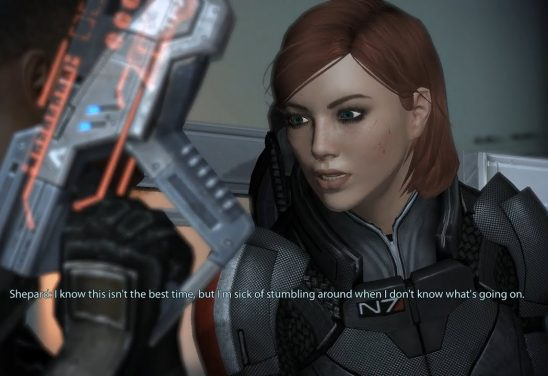Shepard talking to her squad mate from Mass Effect