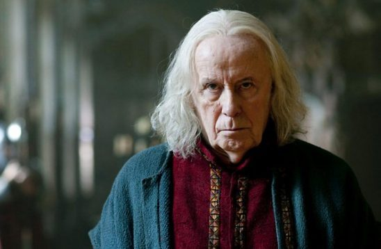 Gaius from BBC Merlin looking sternly at the camera