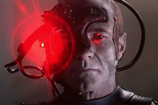 An assimilated Picard staring at the camera from The Next Generation.