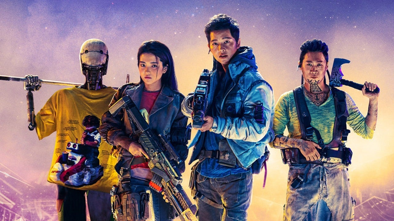 The Korean crew of the space opera Space Sweepers poses with weapons