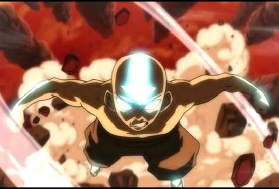Aang in the Avatar State from The Last Air Bender.