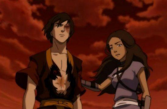 Zuko and Katara standing together.