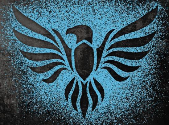 A black bird pattern on a blue background.