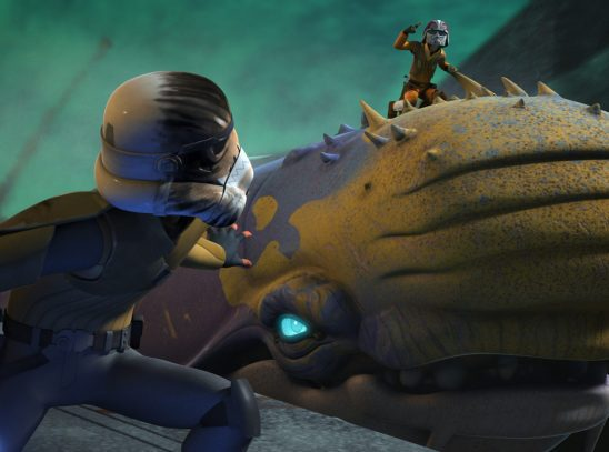 Two characters standing with a space whale.
