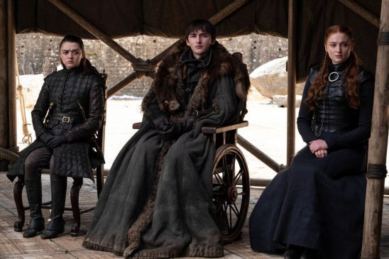 At the summit of noble, Arya, Bran, and Sansa site next to each other.