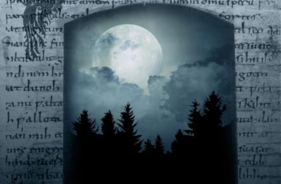 Cover art for Blue Moon Rising, feature a blue toned night sky with a large moon above evergreen trees