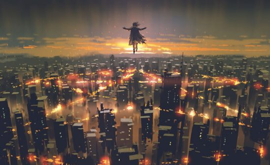 A mage hovers in the sky over a city with a giant burning pentagram