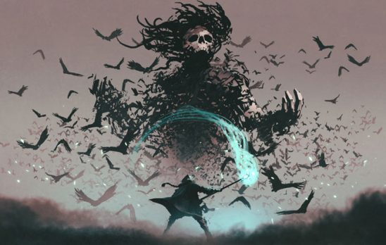 A mage fights a large dark figure made of crows