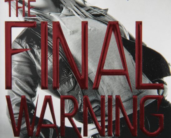 A cover of James Patterson's The Final Warning, where protagonist Max stands at an angle with the title printed in front of her.