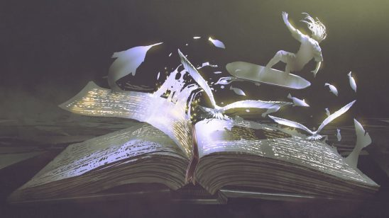 A surfer and swordfish fly out of a book's pages