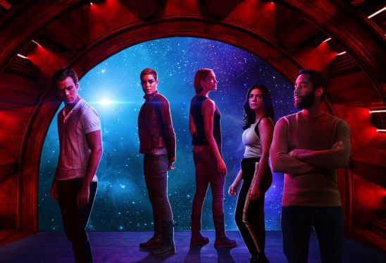 Characters standing in front of a space window from Another Life.