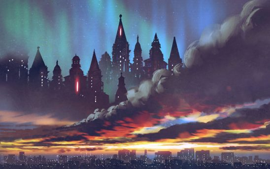 A fantastic city floats in the sky above an Earth city