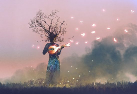 A tree person plays a banjo with glowing butterflies flying around it