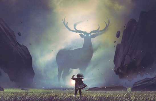A giant misty stag with glowing eyes stands in the background, viewed by someone holding a lantern