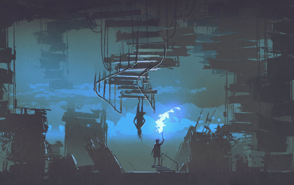 In a vast and dark chamber, a person with a torch stares at another person standing upside down on a reverse staircase