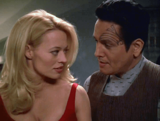 Seven and Chakotay dressed for a date.