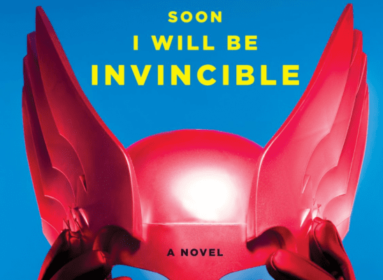 A bright red helmet from the cover art into Soon Will Be Invincible.