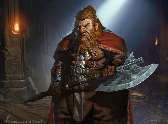 An armored dwarf with a big axe.