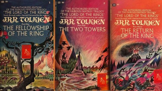 Covers of the first paperback editor of Lord of the Rings, showing a colorful fantasy landscape