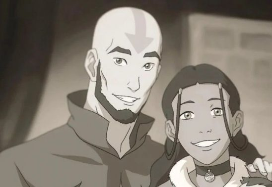 Black and white photo of Aang and Katara from Korra.
