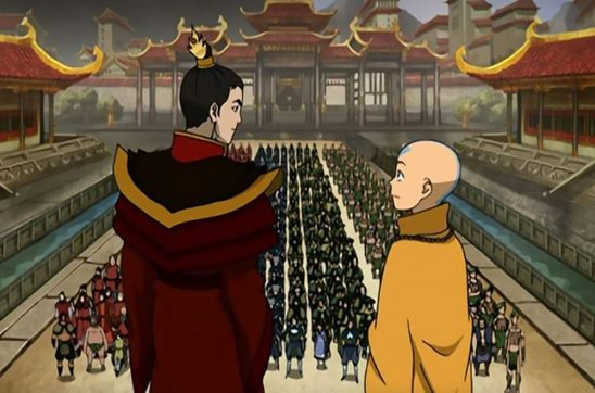 Immediately after he is crowned Fire Lord, Zuko stands next to Aang