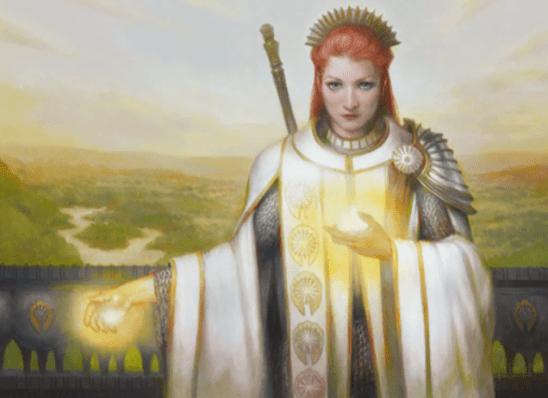 An armored woman summoning light.