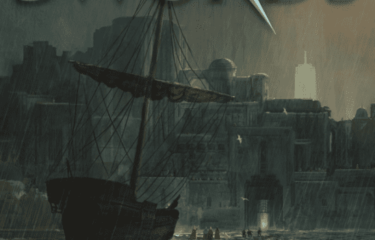 A ship docking at a city from the cover of Age of Swords.