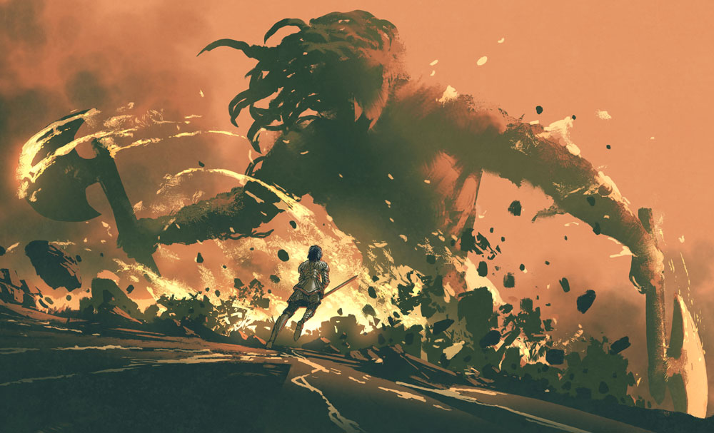 A woman in armor holds a sword up as she rushes toward a lava giant with two axes