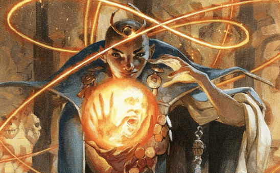 An elven woman summoning a ball of fire.