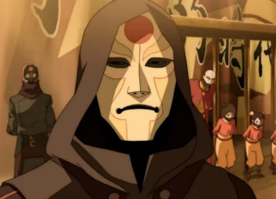 Amon with imprisoned airbenders in the background.