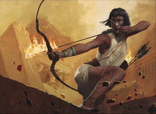 A woman drawing back a burning arrow.