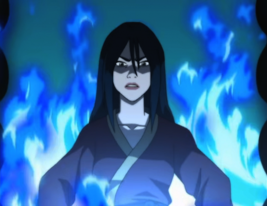Azula surrounded by blue flames.