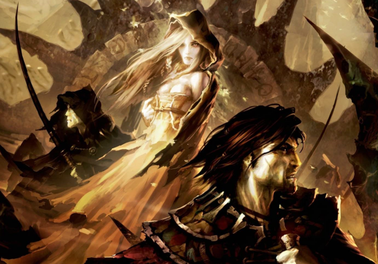 The Lady and a man with an eye-path from Black Company cover art.