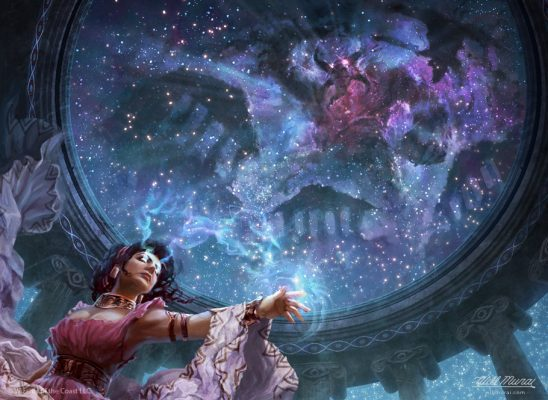 A woman using magic on a starry ceiling.