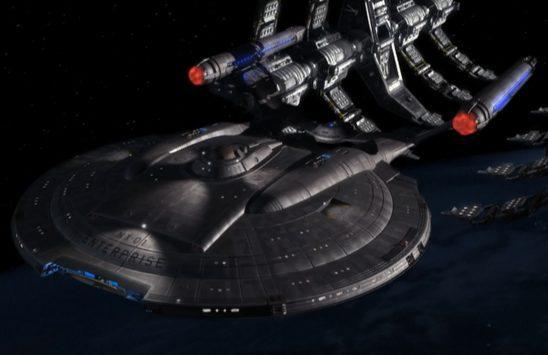 Enterprise leaving space dock.