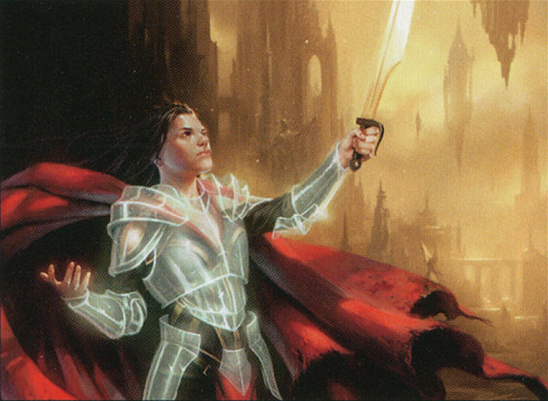 A woman with glowing armor.