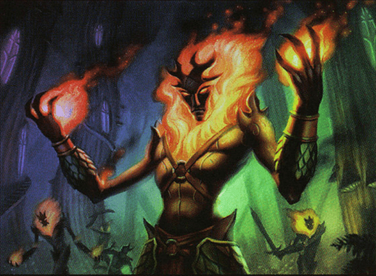 A masked man with fire around his face and hands.