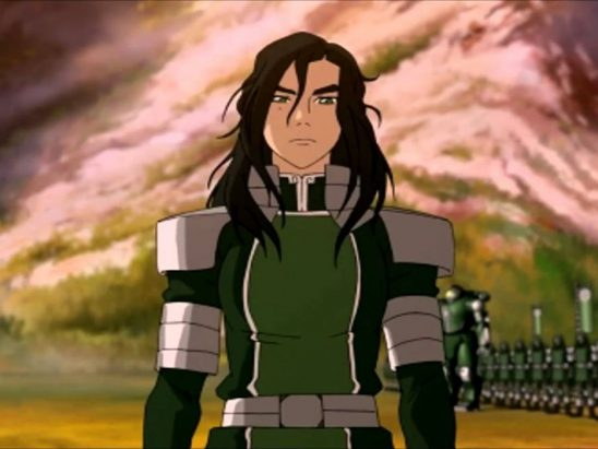 Kuvira with an army in the background.