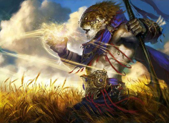 A tiger-person summoning sunlight.